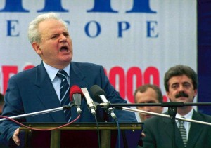 """BER02 - 20000920 - BERANE, YUGOSLAVIA : Yugoslav President Slobodan Milosevic during an election speech to about 15,000 people in the city of Berane, a Serb stronghold, in Montenegro, Yugoslavia on Wednesday 20 September 2000. Milosevic, who will face a challenge to his power in Yugoslav elections on Sunday 24 September, called on the people of Montenegro to """"think hard"""" before choosing whether to remain within the Yugoslav federation or separate from it. EPA PHOTO EPA/MILOS BICANSKI/BW"""