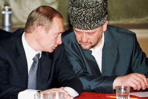 MOZ02:RUSSIA-CHECHNYA:MOZDOK,RUSSIA,6JUL00 - President Vladimir Putin (L) speaks to Akhmad Kadyrov, Russia's chief administrator in Chechnya, during a meeting in Mozdok in North Ossetia, next to Chechnya July 5. Putin has ordered Russian security officials to improve their performance in Chechnya in the wake of bomb attacks that have killed more than 30 people in the breakaway province. cvi/Photo by ITAR-TASS REUTERS