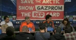 """Пресс-конференция """"Реала"""" прерывалась из-за баннера против """"Газпрома"""""""