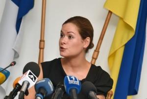ODESSA, UKRAINE. JULY 22, 2015. Odessa Region Deputy Governor Maria Gaidar speaks at a press conference. Andrei Malinovsky/TASS Óêðàèíà. Îäåññà. 22 èþëÿ 2015. Çàìåñòèòåëü ãëàâû Îäåññêîé îáëàñòíîé àäìèíèñòðàöèè Ìàðèÿ Ãàéäàð âî âðåìÿ ïðåññ-êîíôåðåíöèè. Àíäðåé Ìàëèíîâñêèé/ÒÀÑÑ