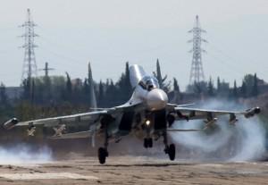 """LATAKIA, SYRIA. OCTOBER 5, 2015. Russia's Sukhoi Su-30 fighter aircraft at the Hmeymim airbase. TASS Ñèðèÿ. Ëàòàêèÿ. 5 îêòÿáðÿ 2015. Ðîññèéñêèé ìíîãîöåëåâîé èñòðåáèòåëü Ñó-30ÑÌ íà àâèàáàçå """"Õìåéìèì"""". ÒÀÑÑ"""