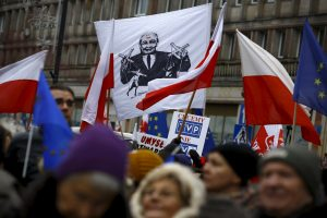 People gather during an anti-government demonstration for free media in front of the Television headquarter in Warsaw, January 9, 2016. A banner (C) shows Law and Justice leader Jaroslaw Kaczynski. REUTERS/Kacper Pempel