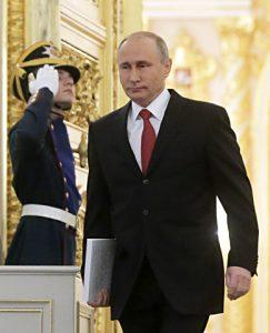 MOSCOW, RUSSIA - DECEMBER 1, 2016: Russia's President Vladimir Putin (R) ahead of his annual address to the Russian Federal Assembly at the Moscow Kremlin. Mikhail Metzel/TASS Ðîññèÿ. Ìîñêâà. 1 äåêàáðÿ 2016. Ïðåçèäåíò ÐÔ Âëàäèìèð Ïóòèí (ñïðàâà) ïåðåä íà÷àëîì âûñòóïëåíèÿ ñ åæåãîäíûì ïîñëàíèåì ê Ôåäåðàëüíîìó Ñîáðàíèþ ÐÔ â Êðåìëå. Ìèõàèë Ìåòöåëü/ÒÀÑÑ